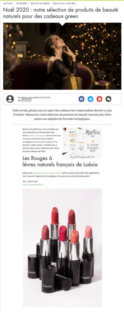 Loesia - Bio a la une 01/12/2020