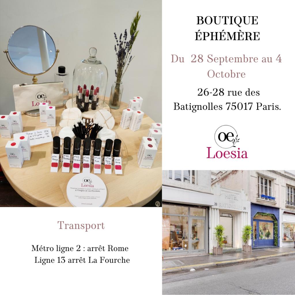 Loesia - boutique éphémère rue Batignolles