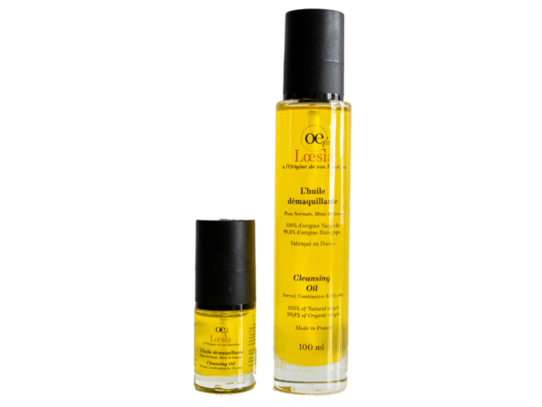 Loesia, cosmétiques naturels et biologiques fabriqués en France. Huile démaquillante base de Jojoba 100% naturel, peau normale, mixte et grasse.