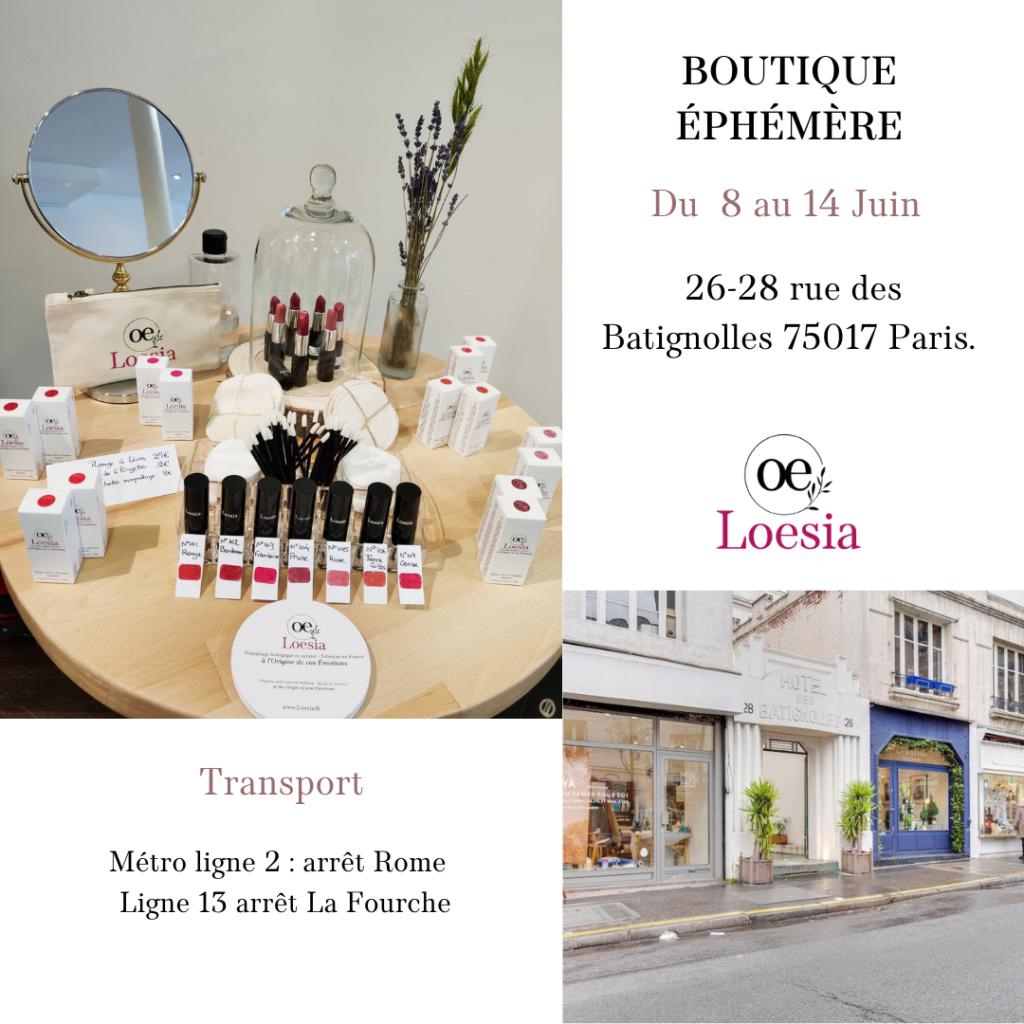 Loesia en boutique éphémère rue Batignolles à Paris